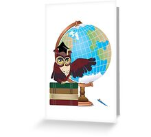 Owl with Globe Greeting Card
