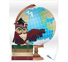 Owl with Globe Poster