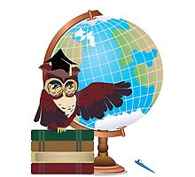 Owl with Globe Photographic Print
