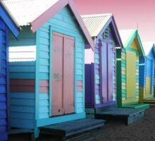 Bathing Boxes, Brighton Beach Sticker