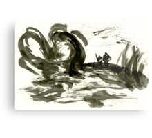 Sumi-E Painting - The Gnarled Roots Metal Print