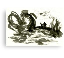 Sumi-E Painting - The Gnarled Roots Canvas Print