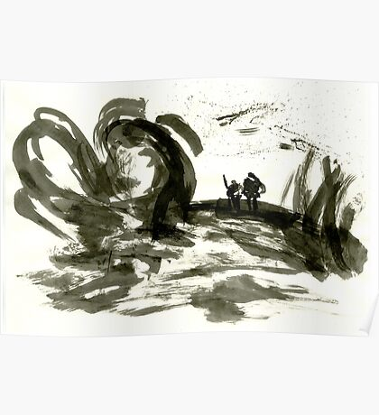 Sumi-E Painting - The Gnarled Roots Poster