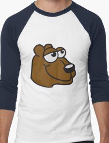 face head great funny sitting thick grizzly bear comic cartoon Men's Baseball ¾ T-Shirt