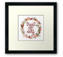 Treat Yo Self Floral Wreath Framed Print