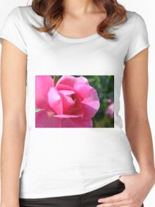 Pink rose in the garden. Women's Fitted Scoop T-Shirt