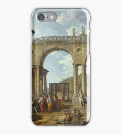 Vintage famous art - Giovanni Paolo Panini - A Capriccio Of Roman Ruins With The Arch Of Constantine iPhone Case/Skin