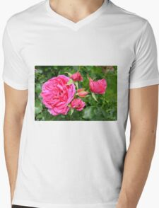 Pink roses in the garden. Mens V-Neck T-Shirt