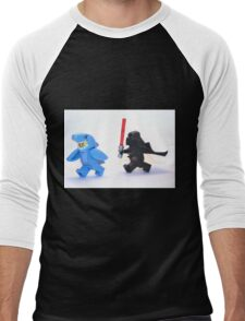 Lego Star Wars Darth Vader and Shark Suit Guy Pursuit Minifigure Men's Baseball ¾ T-Shirt