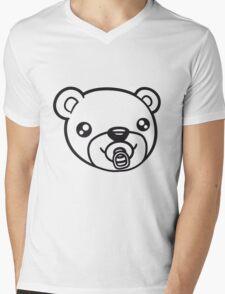 face head baby pacifier diaper child sweet cute small comic cartoon teddy bear Mens V-Neck T-Shirt
