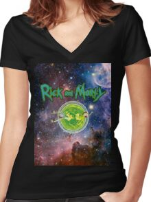 Rick and Morty Galaxy Women's Fitted V-Neck T-Shirt