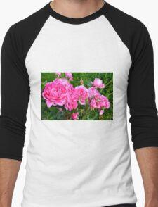 Pink rose in the garden. Men's Baseball ¾ T-Shirt