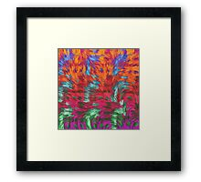 Florescent Purple Pink Green Abstract Pattern  Framed Print