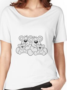 siblings twins pair couple love papa 2 children, baby boy, mummy family sweet little cute polar teddy bear sitting Women's Relaxed Fit T-Shirt