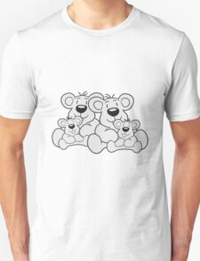 siblings twins pair couple love papa 2 children, baby boy, mummy family sweet little cute polar teddy bear sitting Unisex T-Shirt