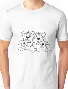 siblings twins pair couple love papa 2 children, baby boy, mummy family sweet little cute polar teddy bear sitting Unisex T-Shirt