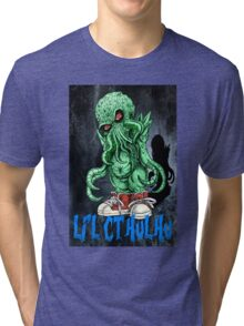 HP LOVECRAFT LIL CTHULHU (BACK GROUND) Tri-blend T-Shirt