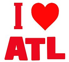 I love Atl Red Funky Design Shirt Photographic Print