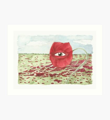 In a field of blind poppies, one eye is king Art Print