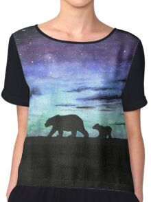 Aurora borealis and polar bears (dark version) Chiffon Top