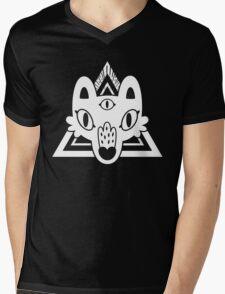 Mystic Wolf Head in White Mens V-Neck T-Shirt
