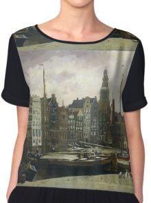 Vintage famous art - George Hendrik Breitner - The Damrak, Amsterdam Chiffon Top