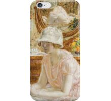 Vintage famous art - Frederick Carl Frieseke - Young Girl Before A Mirror In A Pink Dress iPhone Case/Skin