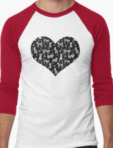 Teacher's Pet - chalkboard cat pattern Men's Baseball ¾ T-Shirt
