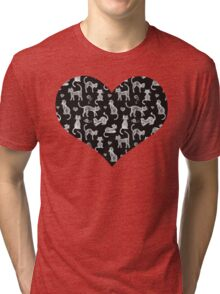 Teacher's Pet - chalkboard cat pattern Tri-blend T-Shirt