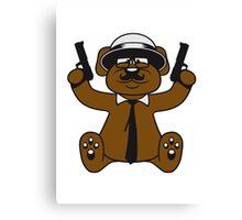 gangster mafia gangster guns ties hat hornbrille mustache nasty thug shoot robber thief raid teddy bear Canvas Print