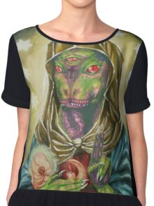 Blessed Reptilian Virgin and Child Chiffon Top