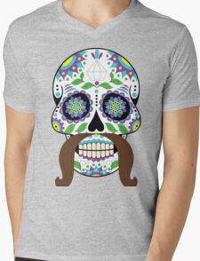 Zombie / Zombies Flower Face Mens V-Neck T-Shirt
