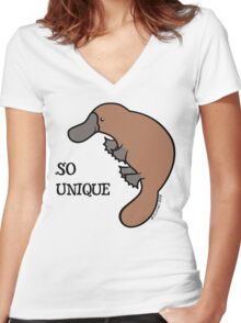 DUCK-BILLED PLATYPUS - SO UNIQUE  Women's Fitted V-Neck T-Shirt