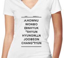 love monsta x white Women's Fitted V-Neck T-Shirt