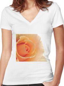 Gorgeous Peach Rose Women's Fitted V-Neck T-Shirt