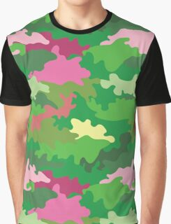 Vector illustration of green water camouflage seamless pattern. Pink romantic accent Graphic T-Shirt