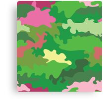 Vector illustration of green water camouflage seamless pattern. Pink romantic accent Canvas Print