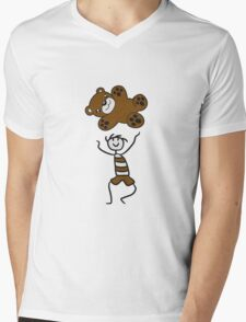 flying toss catch large stuffed animal boy child cute concept comic cartoon teddy bear baby Mens V-Neck T-Shirt
