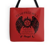 Two boys,an old man and a fallen angel (black version) Tote Bag