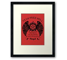 Two boys,an old man and a fallen angel (black version) Framed Print