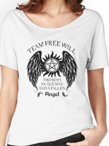 Two boys,an old man and a fallen angel (black version) Women's Relaxed Fit T-Shirt