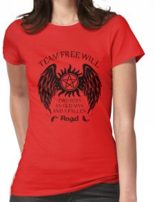 Two boys,an old man and a fallen angel (black version) Womens Fitted T-Shirt