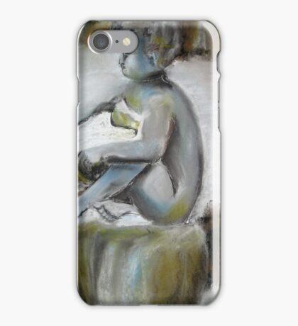 Garden Statue of Cherub with bowl in winter iPhone Case/Skin
