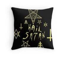 Hail Satan (Yellow) Throw Pillow