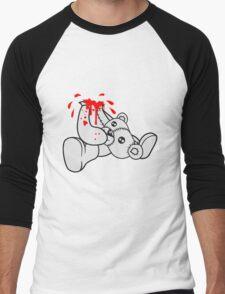 decapitated head drops polar spatter blood disgusting demolished death murder headless teddy bear sitting horror halloween evil Men's Baseball ¾ T-Shirt