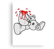 decapitated head drops polar spatter blood disgusting demolished death murder headless teddy bear sitting horror halloween evil Canvas Print
