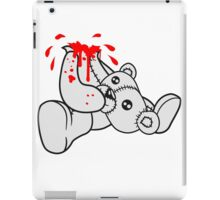 decapitated head drops polar spatter blood disgusting demolished death murder headless teddy bear sitting horror halloween evil iPad Case/Skin