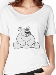 polar bear sitting sweet cute comic cartoon teddy dick big Women's Relaxed Fit T-Shirt