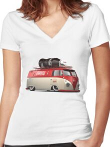 vw-red-volkswagen Women's Fitted V-Neck T-Shirt