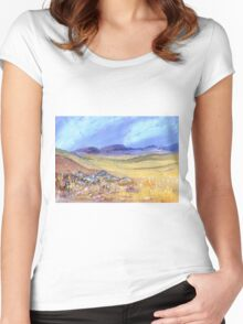 A landscape Women's Fitted Scoop T-Shirt